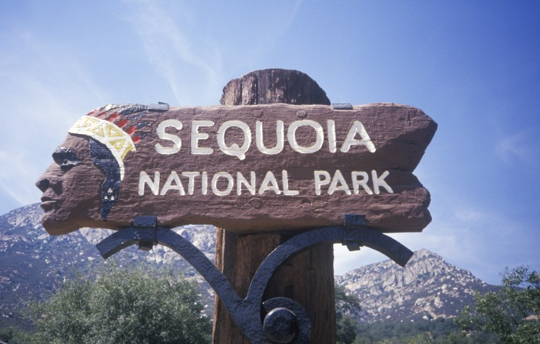 Welcome sign for Sequoia National Park