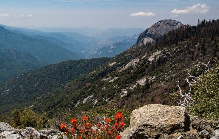 Panorama of Moro Rock and an extended mountain range in the distance